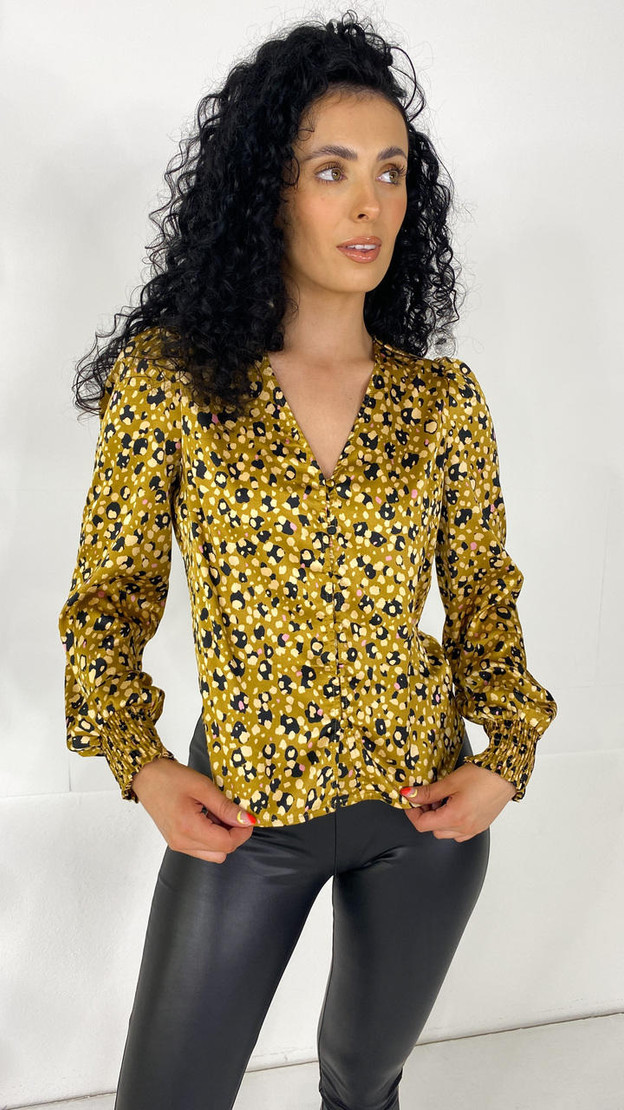 Pieces Mustard Printed Button Down Top