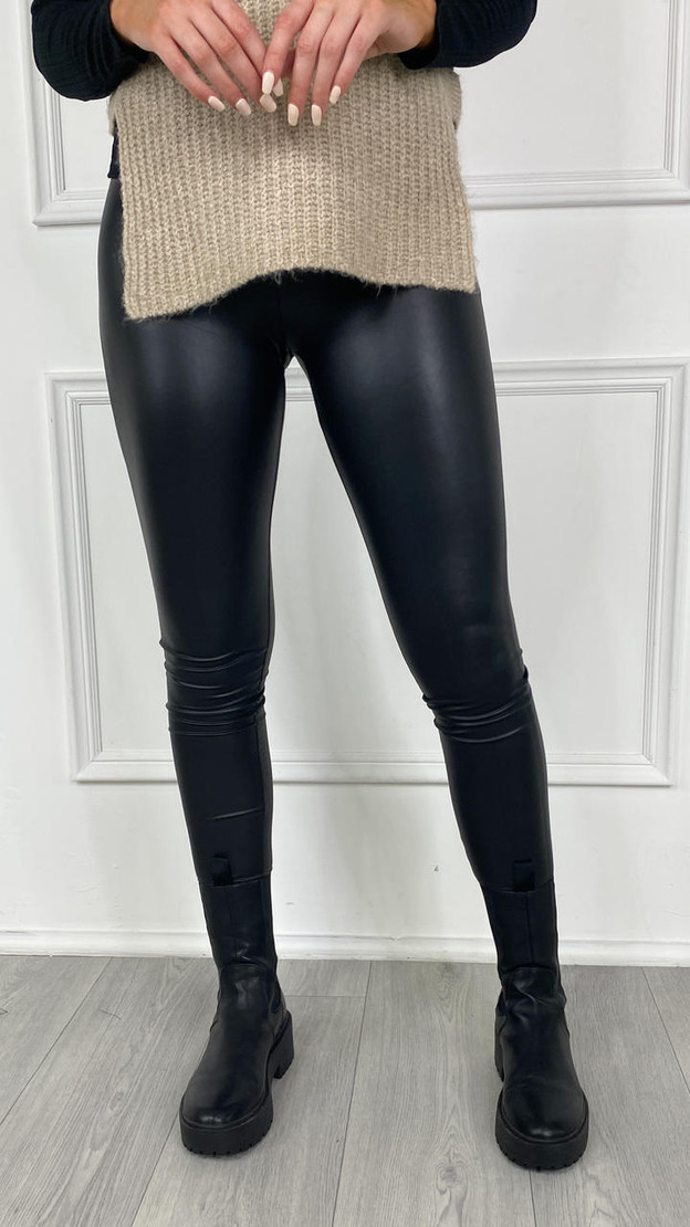 Only Black Faux Leather Leggings