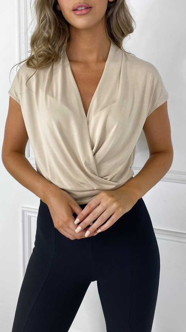 Get That Trend Only Life Beige Wrap Top