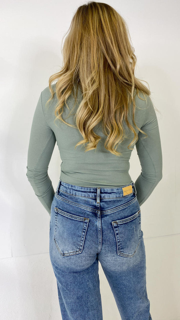 Get That Trend Pieces Teal Ribbed Long Sleeve Top