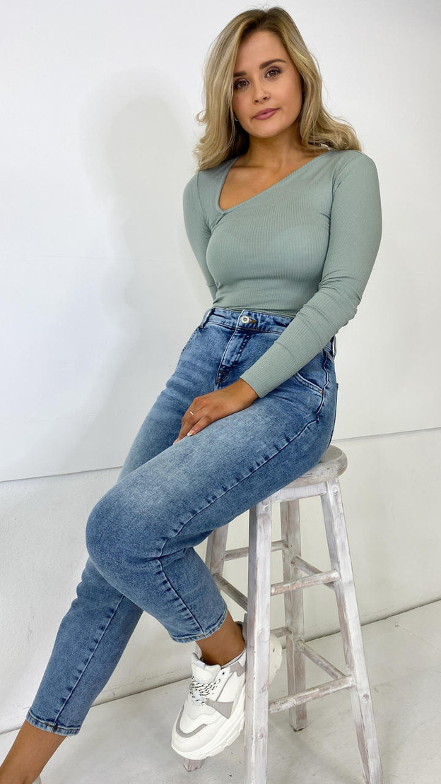 Pieces Teal Ribbed Long Sleeve Top