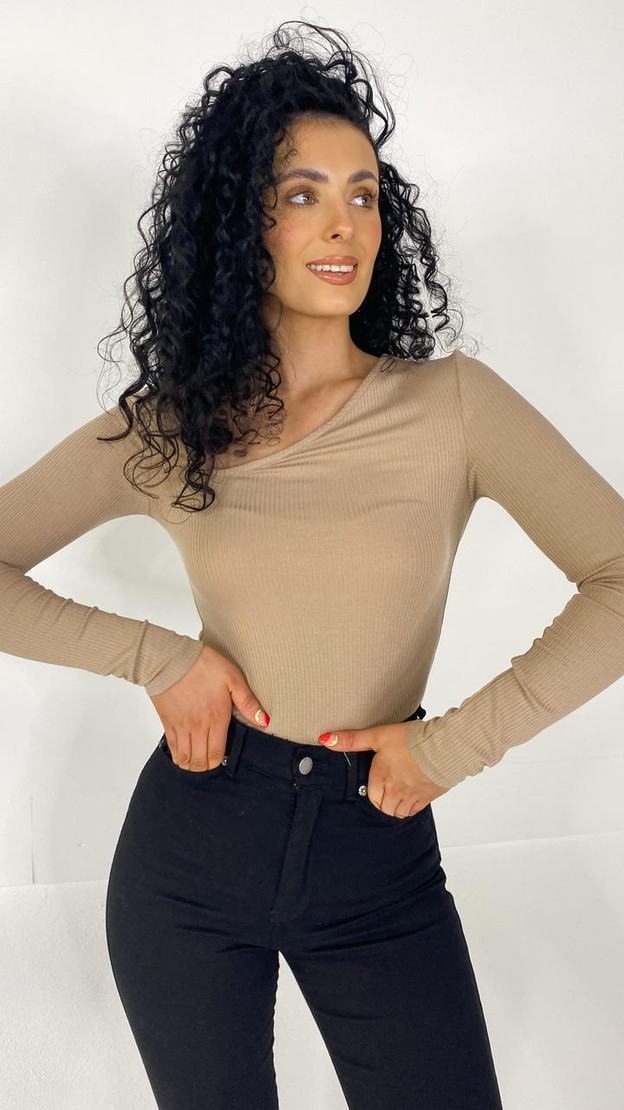 Get That Trend Pieces Sand Ribbed Long Sleeve Top