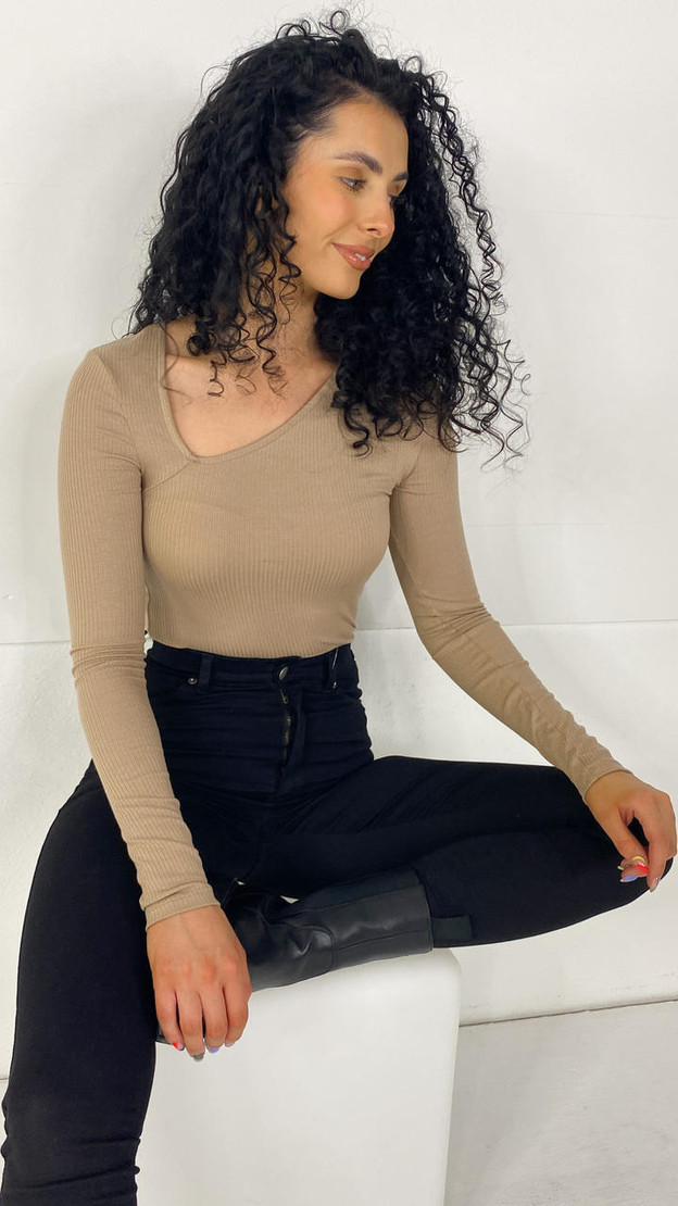 Pieces Sand Ribbed Long Sleeve Top