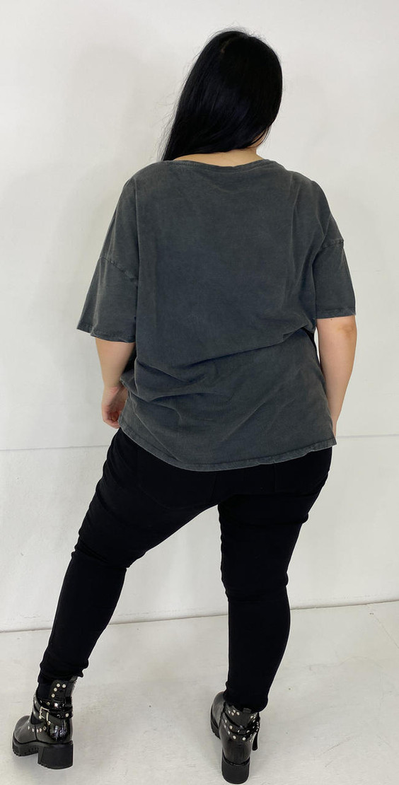 Get That Trend Noisy May Curve Washed Grey T-Shirt