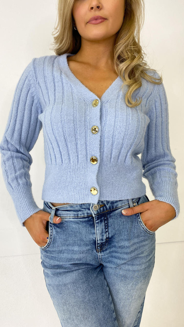 Get That Trend Pieces Baby Blue Knitted Cardigan