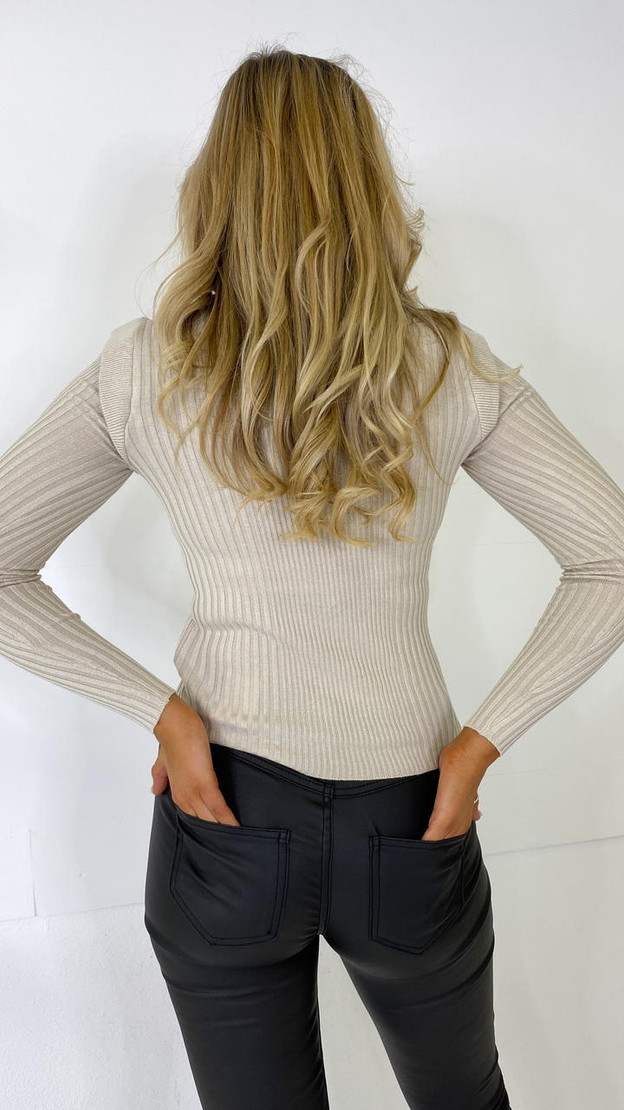 Get That Trend Only Cream Ribbed Long Sleeve Top