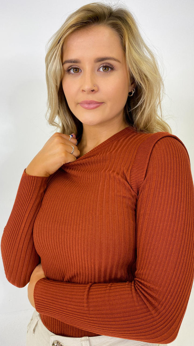 Only Rust Ribbed Long Sleeve Top