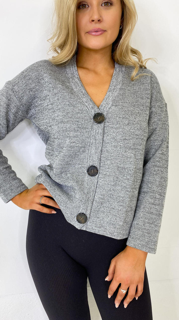 Get That Trend Pieces Grey Button Down Cardigan