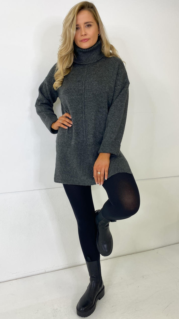 Only Dark Grey Roll Neck Knitted Pullover