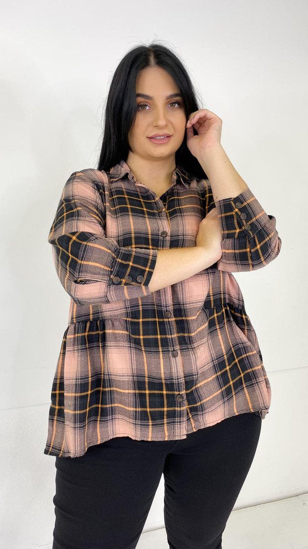 Only Carmakoma Dusty Pink Check Shirt