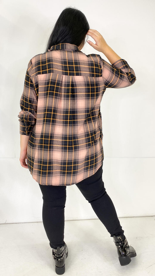 Get That Trend Only Carmakoma Dusty Pink Check Shirt