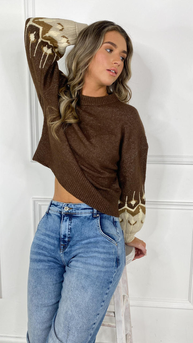 Only Brown Detailed Knitted Pullover