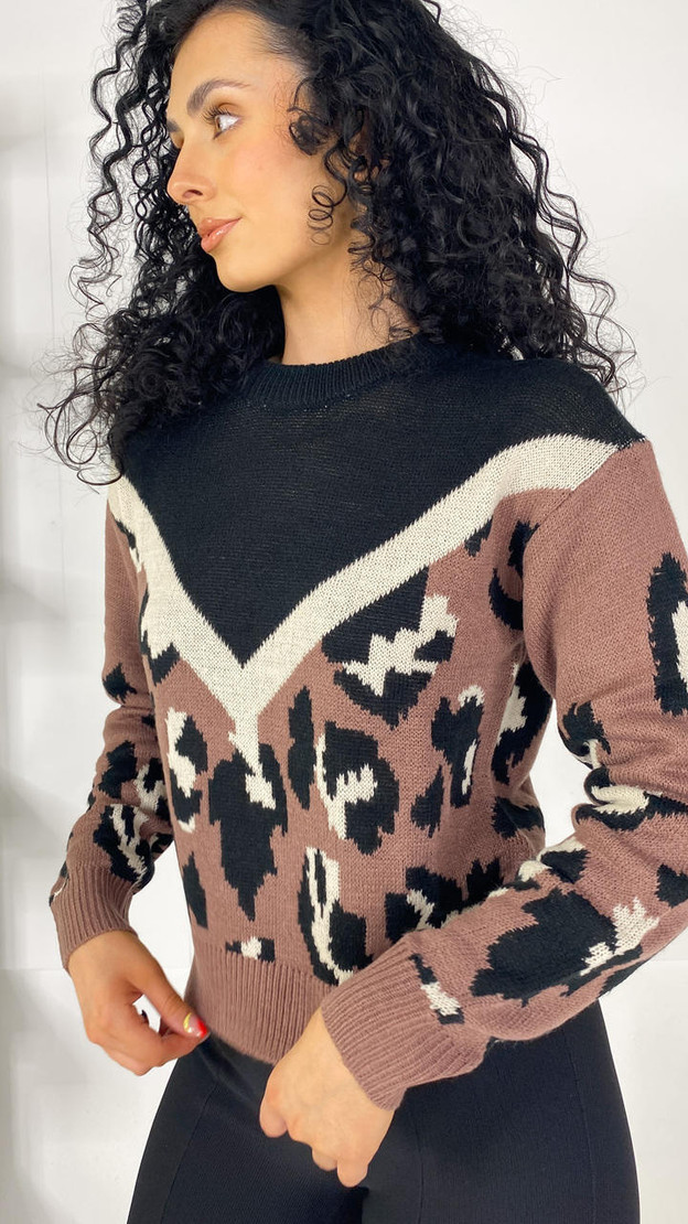 JDY Leopard Print Knitted Pullover