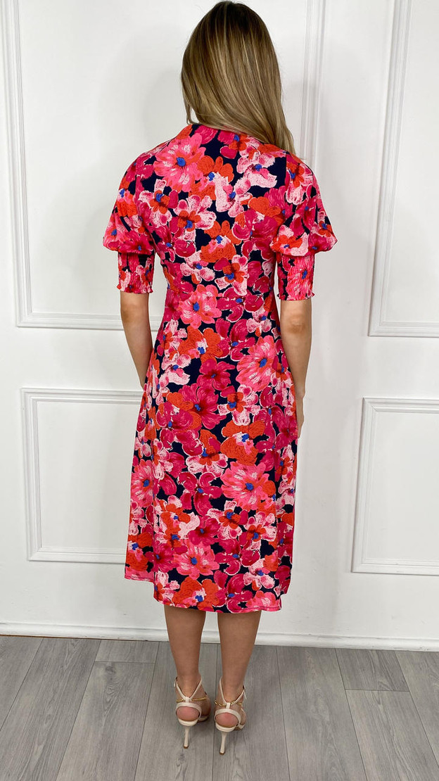 Get That Trend Girl In Mind Collared Pink Flowered Midi Dress
