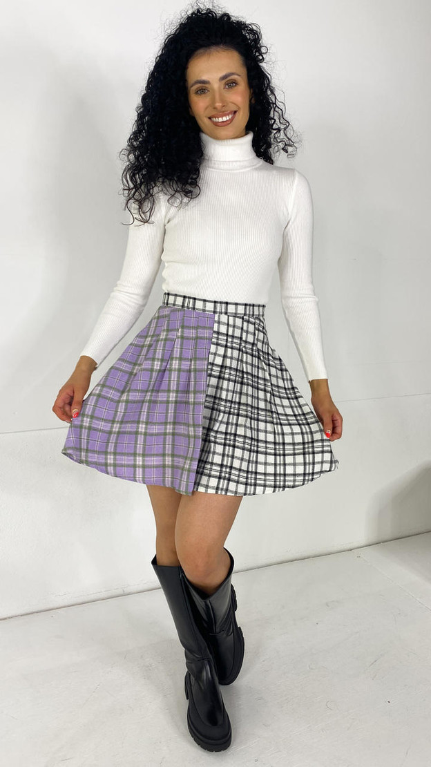 Get That Trend Daisy Street Checked Pleated Mini Skirt