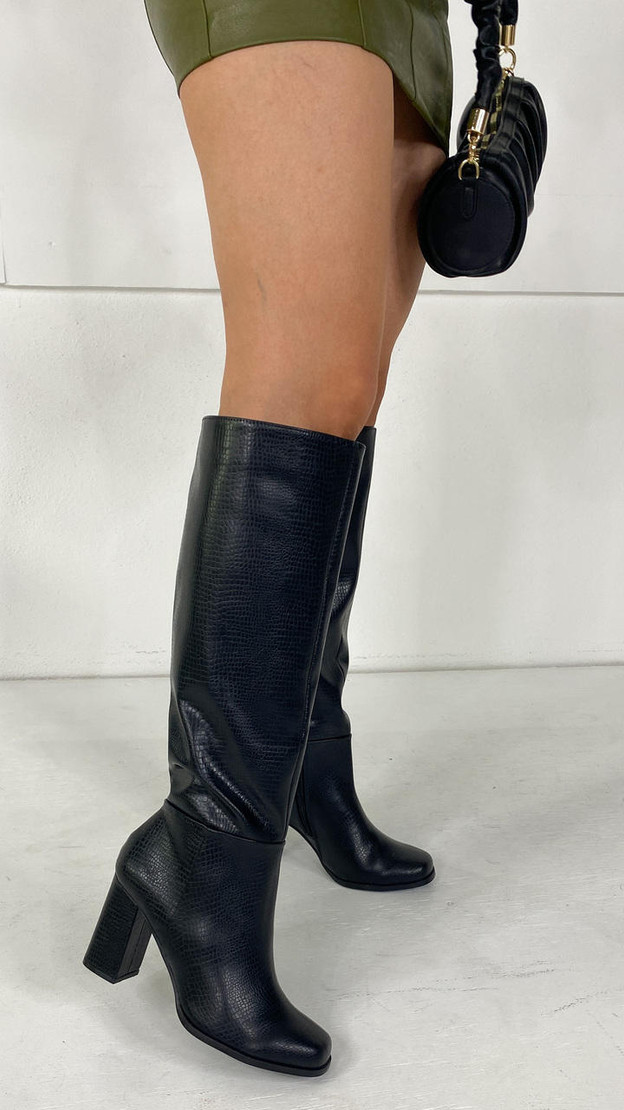 Vero Moda Black Knee High Faux Leather Boots