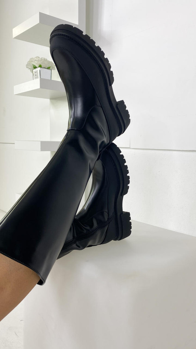 Only Black Faux Leather Biker Boots