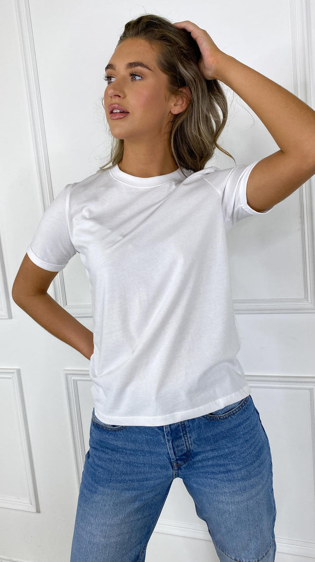 Pieces Solid White Tee