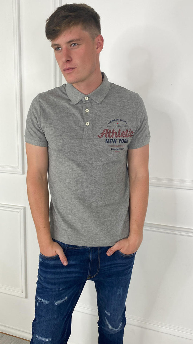 Produkt Mens Larry College Polo In Light Grey