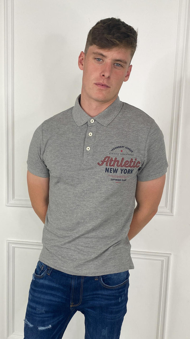 Get That Trend Produkt Mens Larry College Polo In Light Grey
