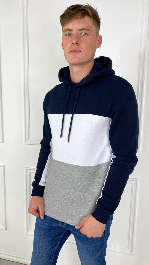 Get That Trend Only and Sons Striped Contrast Hoodie In Navy