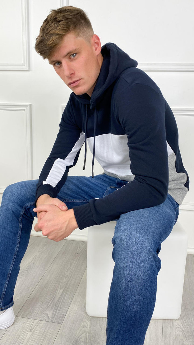 Only & Sons Striped Contrast Hoodie In Navy