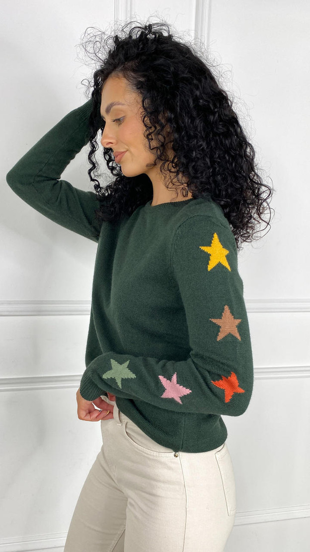 Get That Trend Sugarhill Stacey Jumper In Green Autumnal Star Sleeves