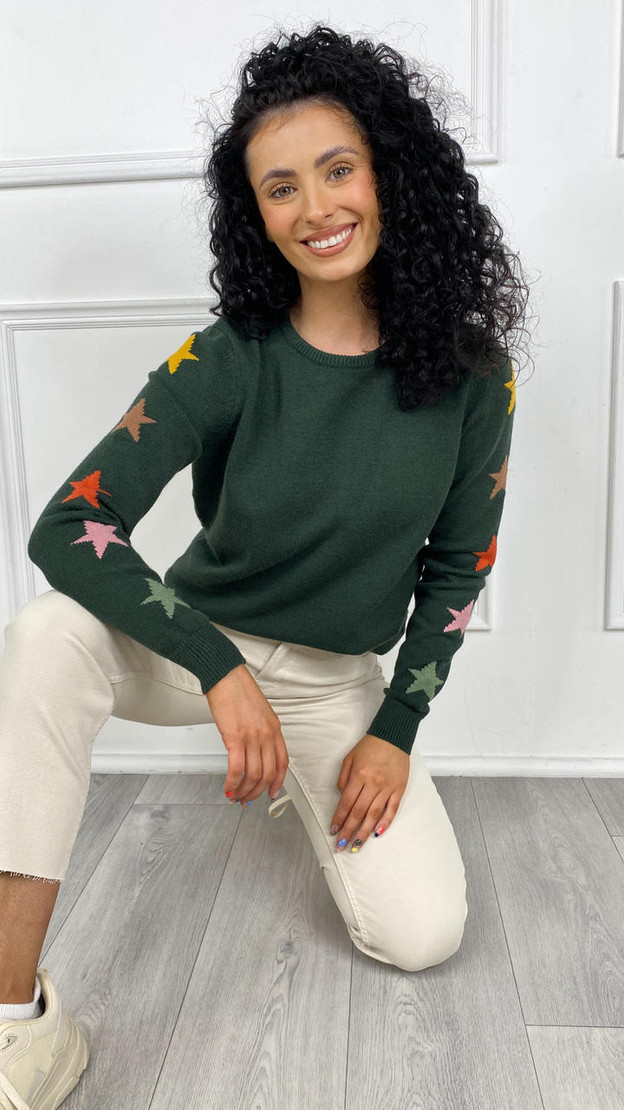 Sugarhill Stacey Jumper In Green Autumnal Star Sleeves
