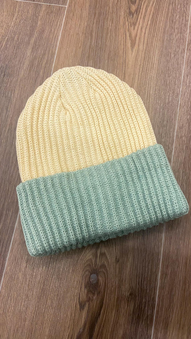Pieces Cream And Mint Two Coloured Beanie