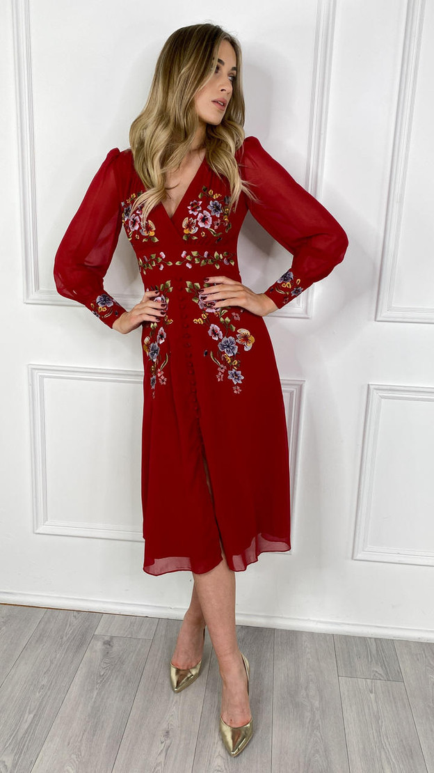 Hope & Ivy Button Front Embroidered Tea Dress