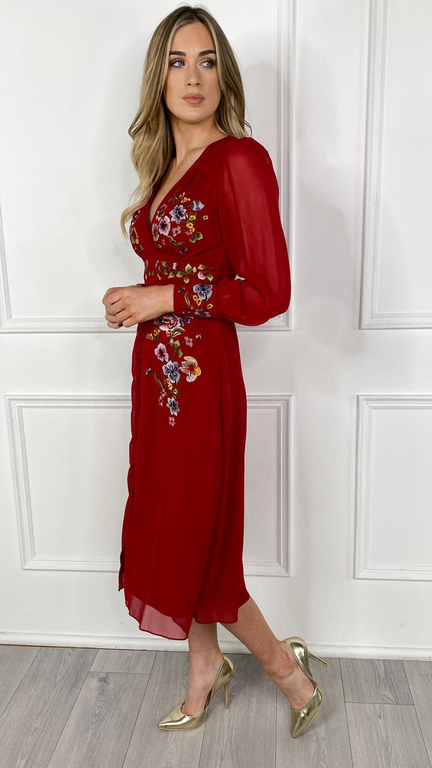 Get That Trend Hope and Ivy Button Front Embroidered Tea Dress