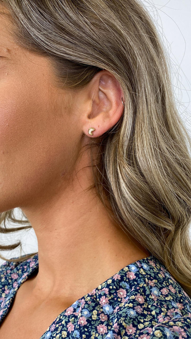 Pieces Gold Moon Stud Earrings
