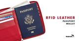 RFID Leather Passport Wallet
