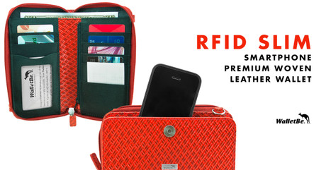 RFID Slim Smartphone Premium Woven Leather Wallet
