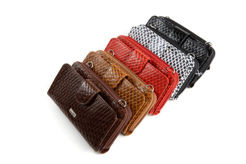 Woven Leather Crossbody Smartphone Wallet Purse, with Wristlet (RFID)