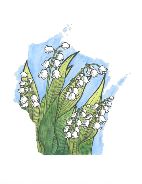 Wisconsin sticker - Lily of the Valley