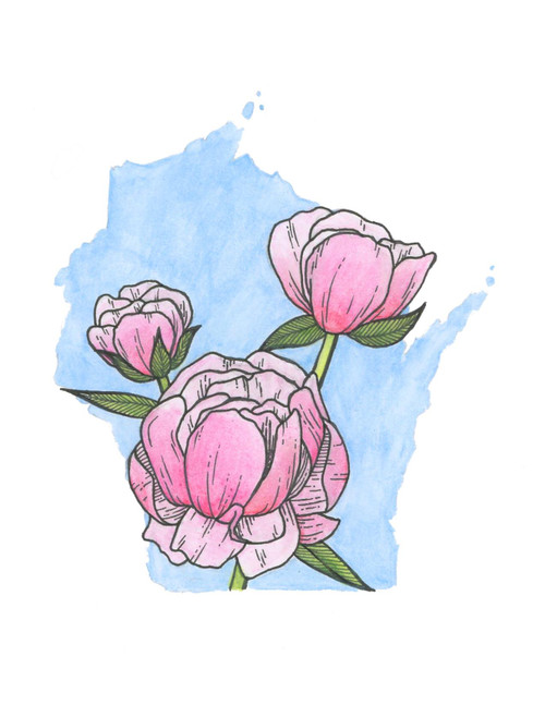 Wisconsin sticker - Peonies