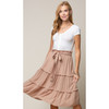Linen Midi Skirt with Tie and Ruffle