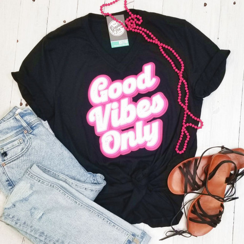 Good Vibes Only - V-Neck Tee