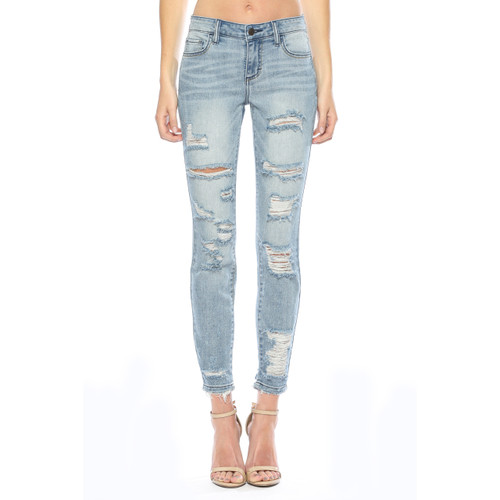 Cello Midrise Destroyed Faded Skinny Jean