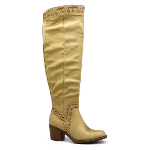 Faux Suede Knee High Boot Shoe Details: Faux Suede Upper, Over the Knee, Inside Zipper, Back Calf Elastic, Textile Lining, Rubber Outsole, 16.5 Inch Calf Circumference. 2.25 Inch Heel Height.  Note: For half sizes, we recommend sizing up.