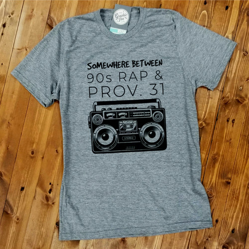 Somewhere Between 90s Rap and Prov. 31 - Aluminum Grey Tee