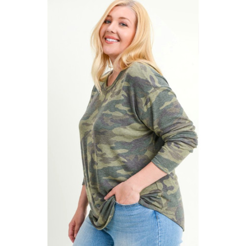 Plus Long Sleeve Curved Hem Camo Top