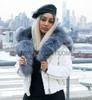 White ladies Mink Motorcycle Jacket with Fox Collar and Trim