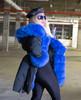 Royal Blue Fox Fur Trim Parka