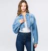 Plus Size Cropped Belted Denim Jacket