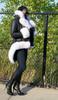 Black Shearling with white Fox Fur Trim