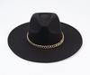 Black Wool Fedora Chain Hat