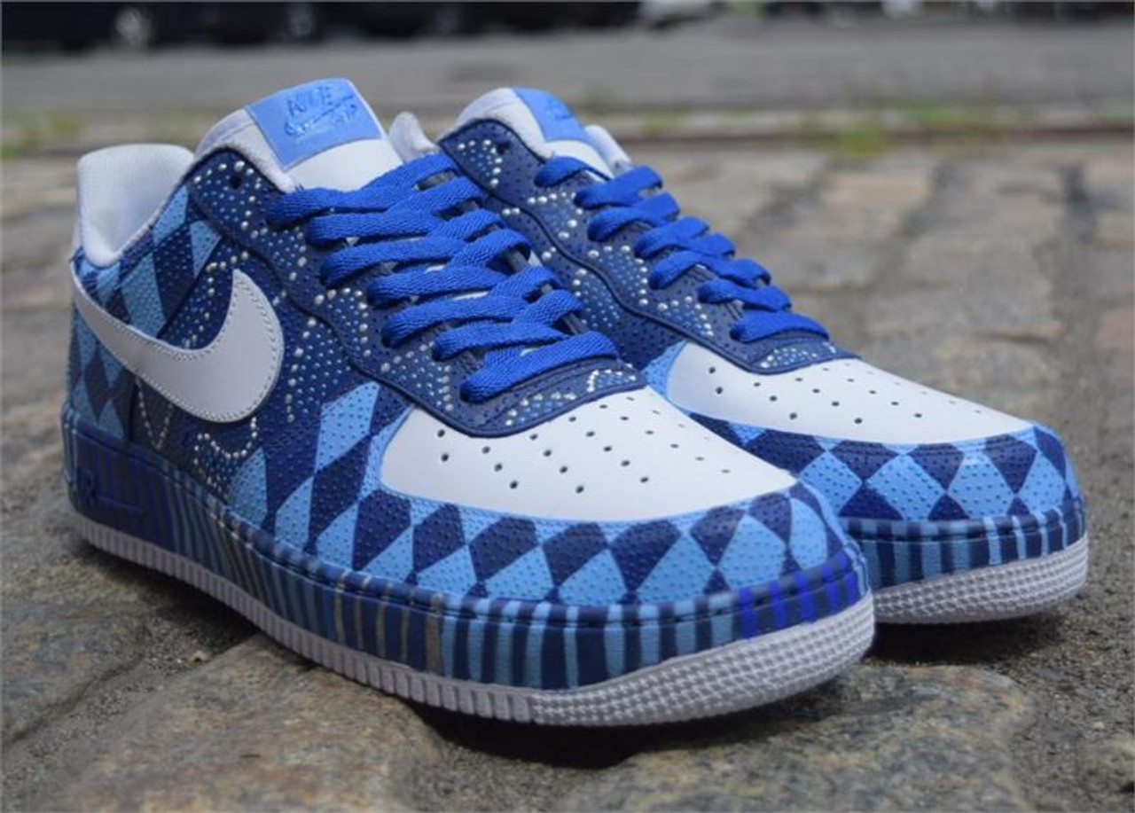 Remixdakickz Blue Diamonds Custom Air Force One Sneakers