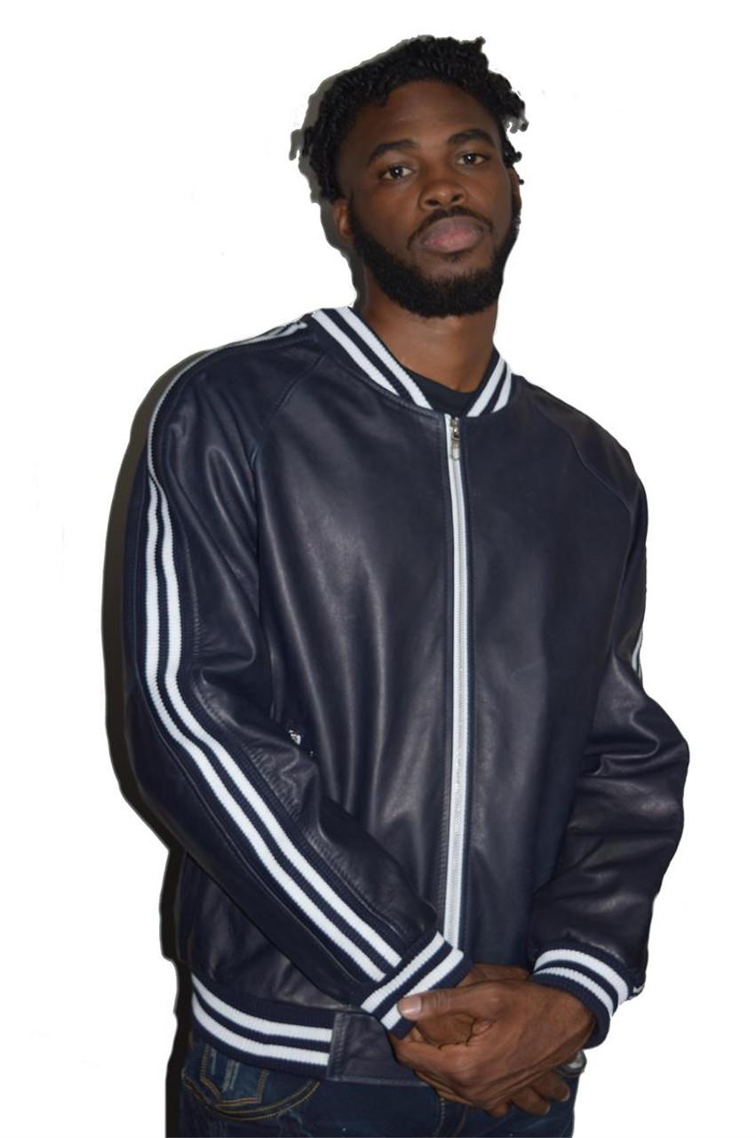 Blue Leather Varsity Stripes Bomber Jacket